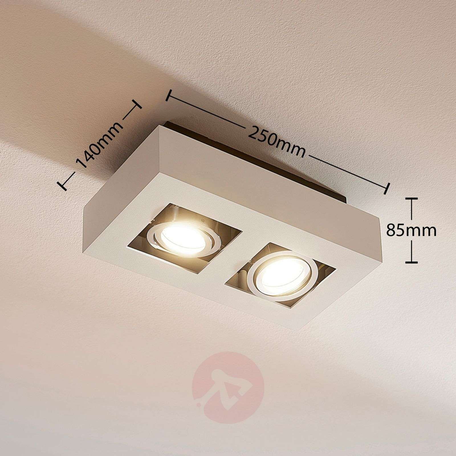 2-lamps LED-spot Vince in wit-9620457-01