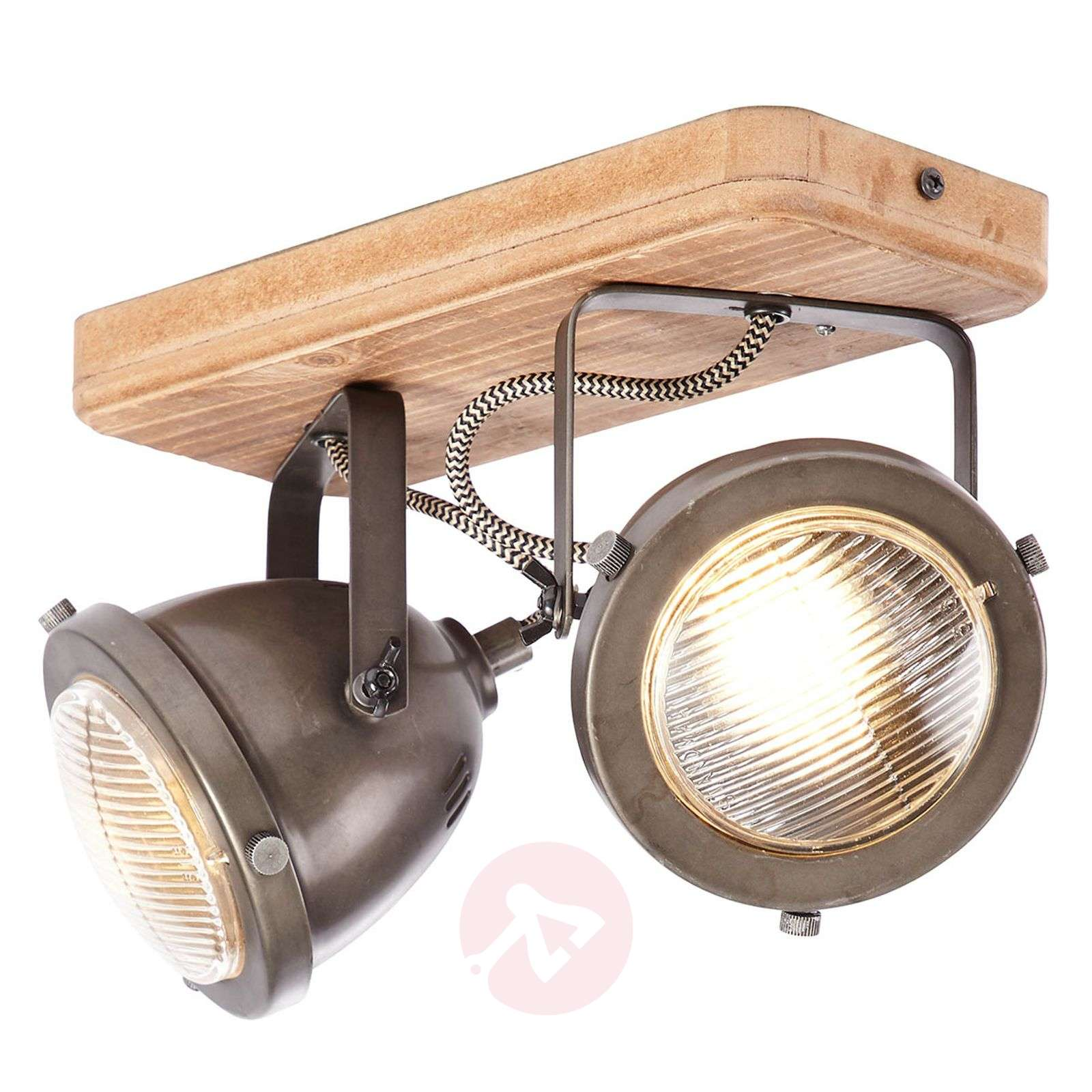 Carmen Wood plafondlamp in industriel 2 lampjes-1509429-01