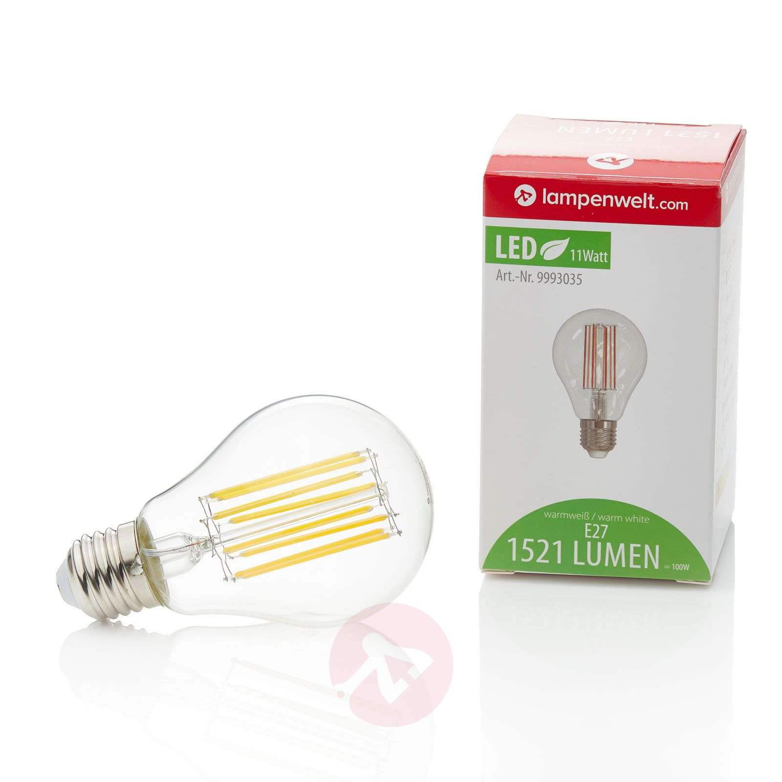 E27 LED-lamp gl. 11W, 1.521Lm, 2.700K, helder-9993035-01