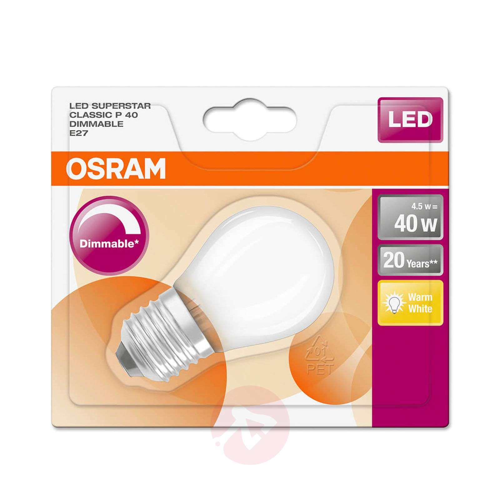 LED druppellamp E27 4,5W, warmwit, dimbaar-7262029-01