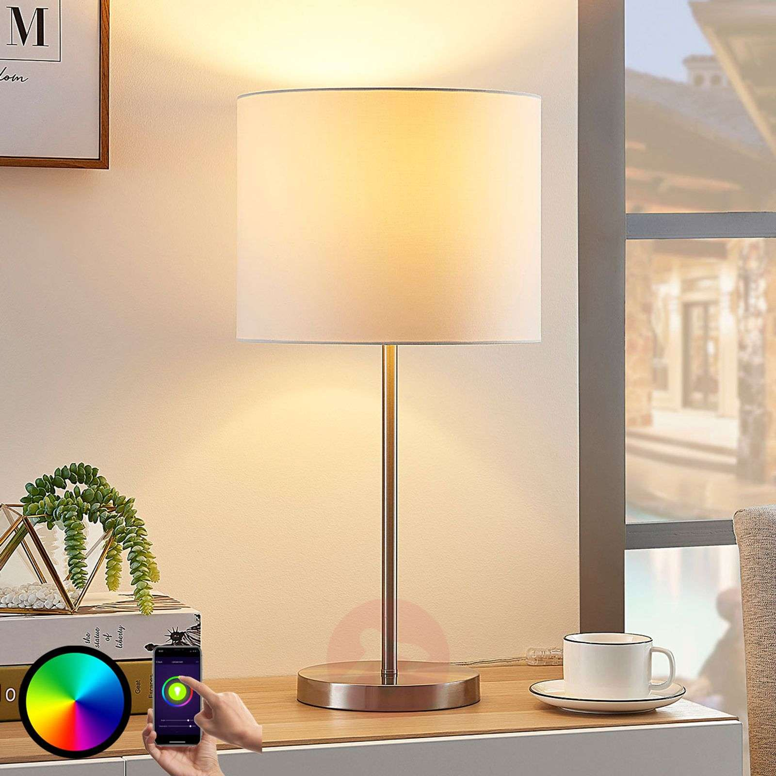 Lindby Smart stoffen tafellamp Everly, RGB-LED-9624100-02
