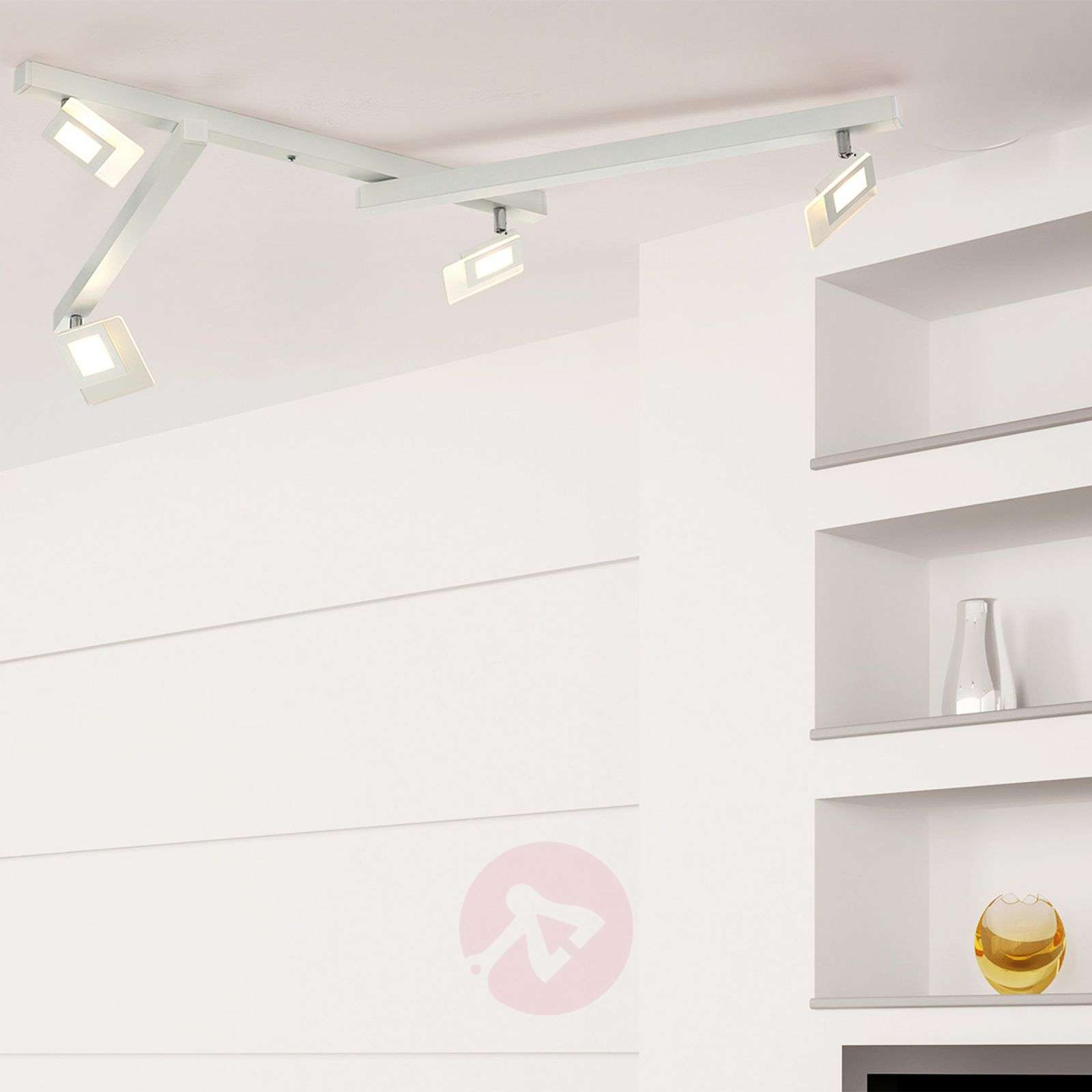 Vijflamps LED-plafondlamp Line in wit-1556069-01