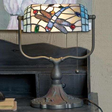 Bankierslamp Dragonfly in Tiffany-stijl