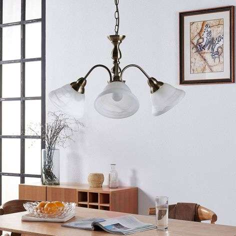 Drielamps hanglamp Hanna in oudmessing