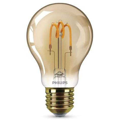 E27 2,3 W LED lamp Curved Line, warmwit, goud