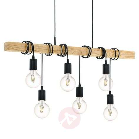 Hanglamp Townshend met hout 6-lamps