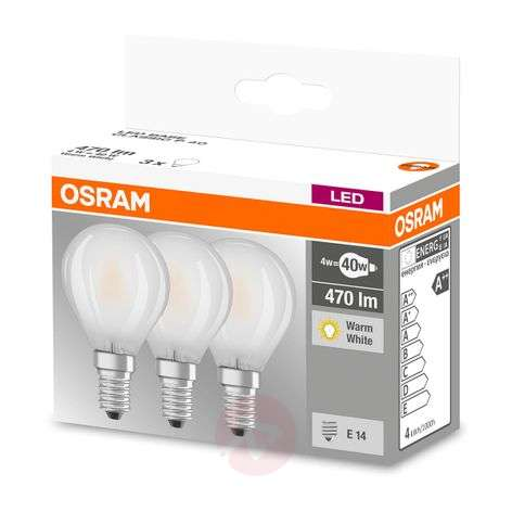 LED lamp E14 4W, warmwit, 470 lumen, set van 3