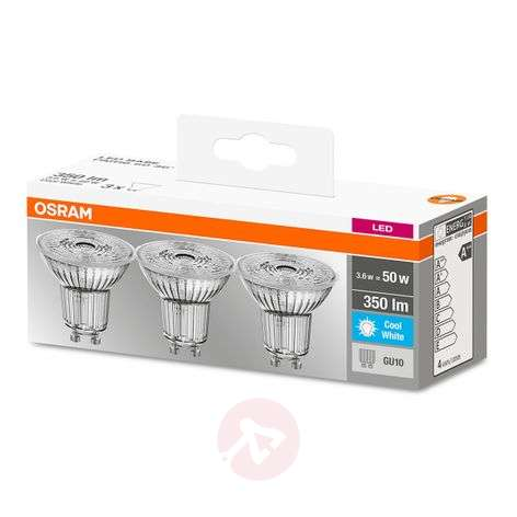 LED reflectorlamp GU10 4,3W, set v. 3