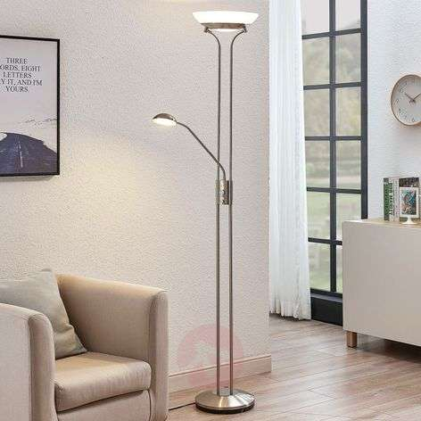 LED uplighter Dimitra m. leeslamp, nikkel