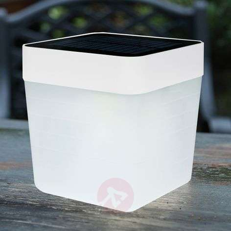 Modieuze LED solar tafellamp Table Cube in wit