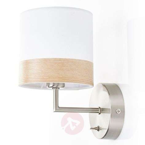 Mooie stoffen wandlamp Libba in crème-hout-4014845-31