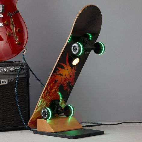 Skateboard-LED tafellamp Easy Cruiser Dragon